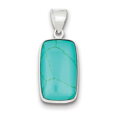 Sterling Silver Turquoise Cushion Pendant