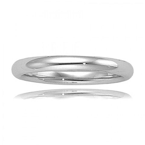 14k Polished White Gold Wedding Band