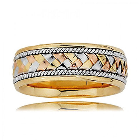 Men's 14k Tri-Color Gold Woven & Twisted Rope Wedding Band