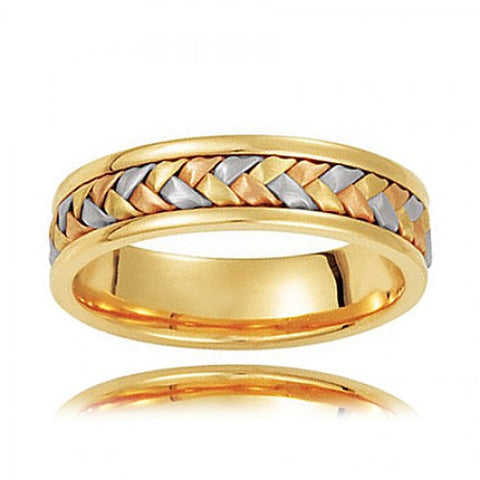 14k Tri-Color Gold Woven Wedding Band