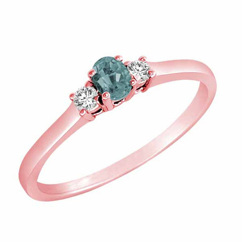 18k Rose Gold Three Stone 1/6 Ct Aquamarine & 1/10 Ct Diamond Ring