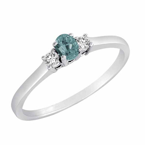 Sterling Silver Three Stone 1/3 Ct Aquamarine Ring with Accent Diamonds