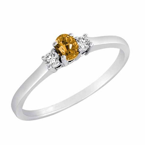 Sterling Silver Three Stone 1/3 Ct Citrine Ring with Accent Diamonds