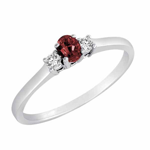Sterling Silver Three Stone 1/3 Ct Ruby Ring with Accent Diamonds