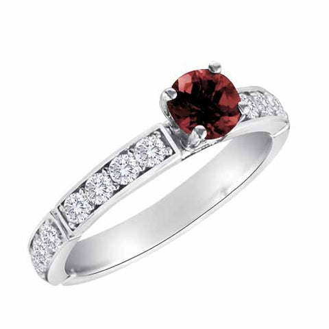 18k White Gold 2/5 Ct Ruby & 1 Ct Diamond Ring