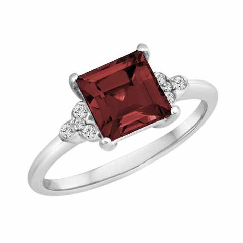 Sterling Silver 2 Ct Ruby & 1/8 Ct Diamond Ring