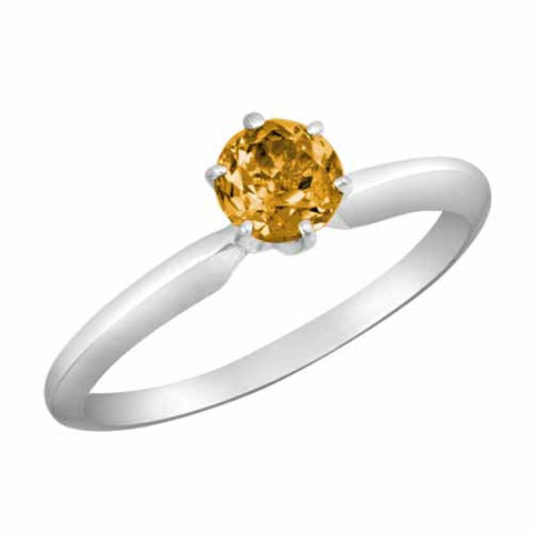 Platinum 1/2 Ct Citrine Solitaire Six Prong Ring