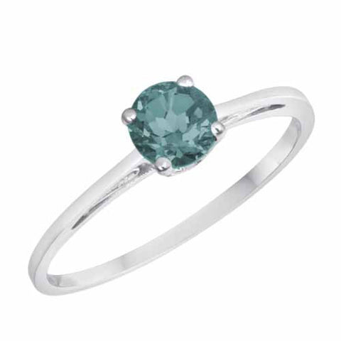 Platinum 1/2 Ct Aquamarine Solitaire Ring