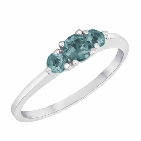 18k White Gold 3/5 Ct Aquamarine Three Stone Ring
