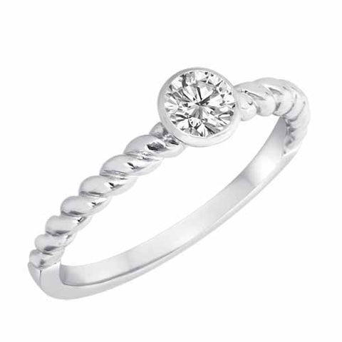 14k White Gold 0.20 Ct Diamond Braided Stackable Solitaire Ring