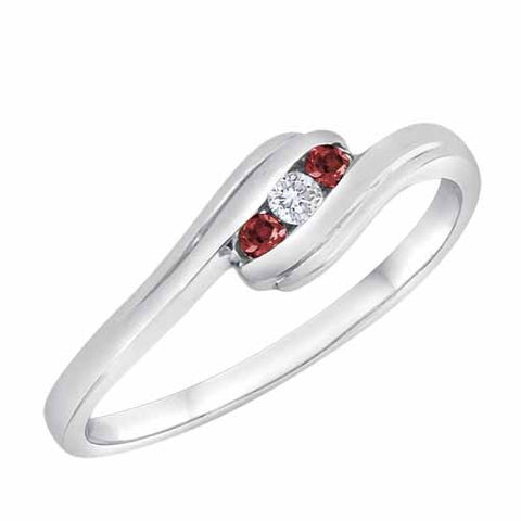 18k White Gold 0.08 Ct Ruby & 0.07 Ct Diamond Accented Three Stone Channel Set Ring
