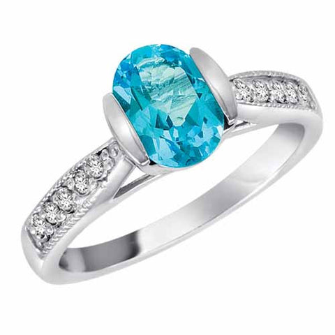 14k White Gold 1.4 Ct Blue Topaz & 1/10 Ct Diamond Ct Ring