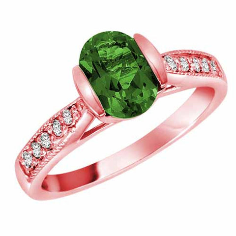 14k Rose Gold 1.4 Ct Emerald & 1/10 Ct Diamond Ct Ring