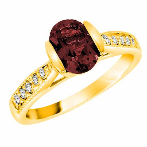 14k Yellow Gold 1.4 Ct Ruby & 1/10 Ct Diamond Ring