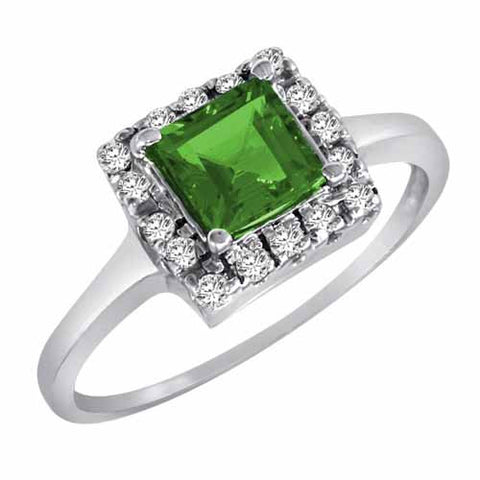 14k White Gold 4/5 Ct Emerald & 1/6 Ct Diamond Ring