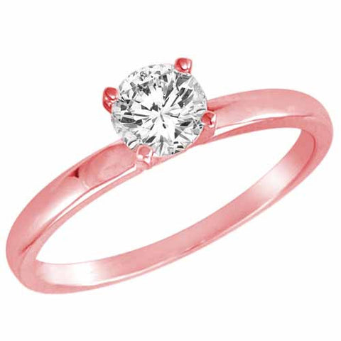 14k Rose Gold 1 Ct Round Diamond Solitaire Ring