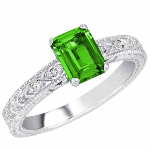 14k White Gold 1 Ct Peridot Ring with Accent Diamonds