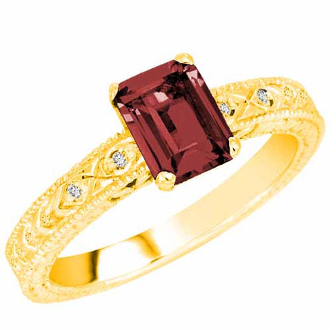 14k Yellow Gold 1 Ct Ruby with Accent Diamonds