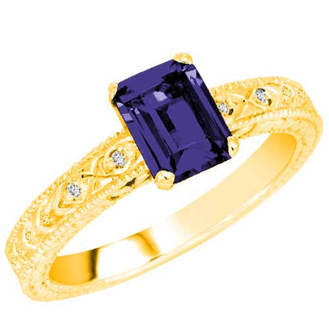 14k Yellow Gold 1 Ct Blue Sapphire Ring with Accent Diamonds