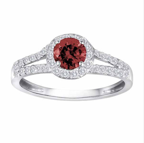 Sterling Silver Split Shank 1/2 Ct Ruby & 1/2 Ct Diamond Ring