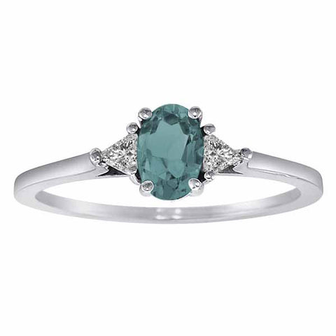 14k White Gold 3/5 Ct Aquamarine & 1/6 Ct Triangle Trillion Diamond Ring