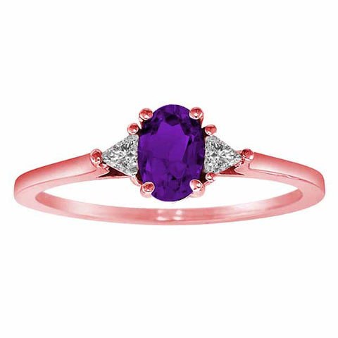 14k Rose Gold 3/5 Ct Amethyst & 1/6 Ct Triangle Trillion Diamond Ring