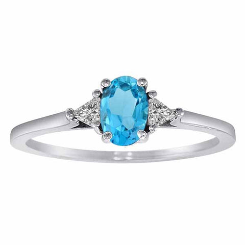 14k White Gold 3/5 Ct Blue Topaz & Triangle Trillion 1/6 Ct Diamond Dring