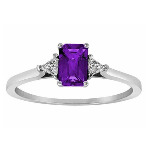 14k White Gold 3/5 Ct Amethyst & 1/6 Ct Triangle Trillion Diamond Ring