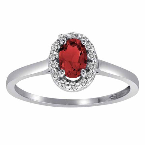 14k White Gold 3/5 Ct Garnet & 1/6 Ct Round Diamond Ring