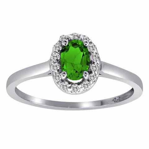 14k White Gold 3/5 Ct Peridot & 1/6 Ct Round Diamond Ring