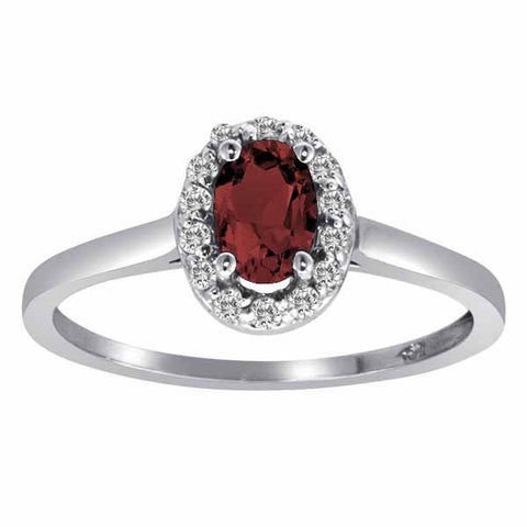 18k White Gold 3/5 Ct Ruby & 1/6 Ct Round Diamond Ring