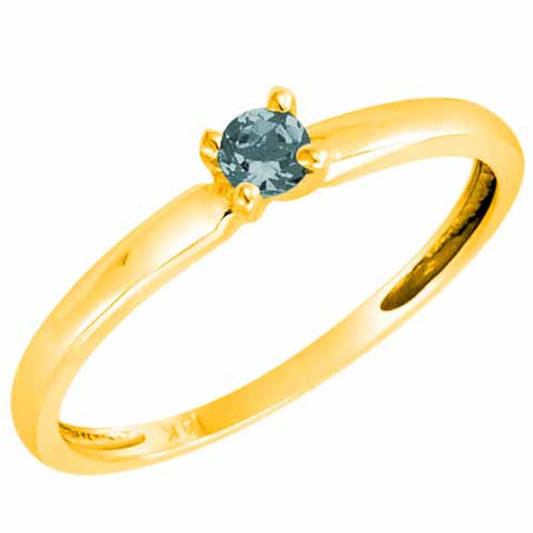 14k Yellow Gold 1/5 Ct Aquamarine Solitaire Ring