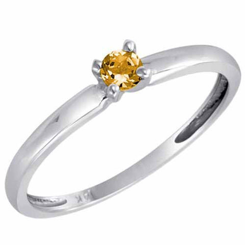 Sterling Silver 1/5 Ct Citrine Solitaire Ring
