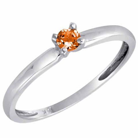 14k White Gold 1/5 Ct Fire Opal Solitaire Ring