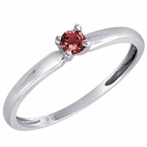 Sterling Silver 1/5 Ct Ruby Solitaire Ring