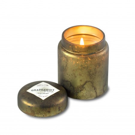 Himalayan Mountain Fire Glass Candle - Grapefruit Pine