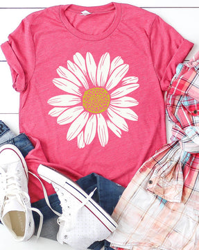RM Blooming Daisy Graphic Tee - Berry