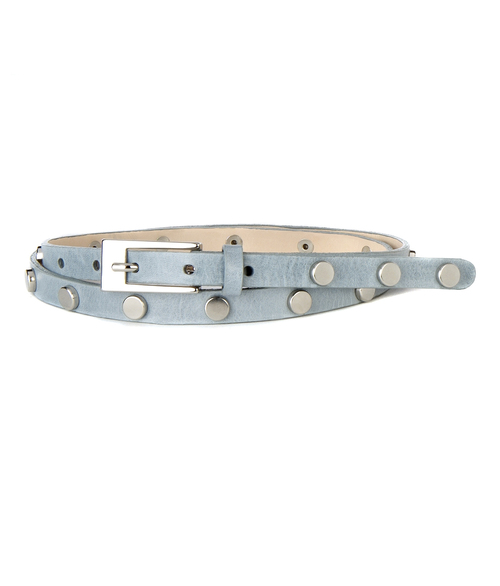 Brave 3207 Maja Skinny Stud Leather Belt - Powder Blue