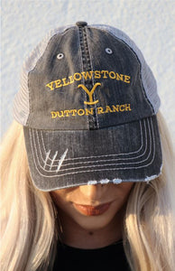 CR Yellowstone Dutton Ranch Trucker Hat - Grey