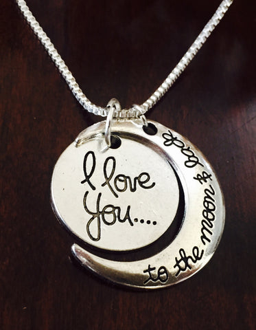 """I love you .... to the moon and back""  Necklace"