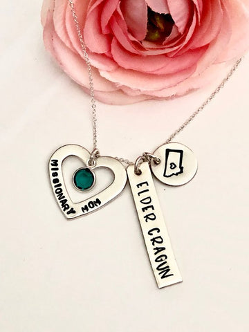 Hand stamped Missionary Mom Necklace- LDS Missionary Mom Necklace
