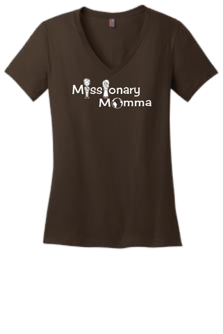 Missionary Mommas V-neck T-shirt w/White Logo