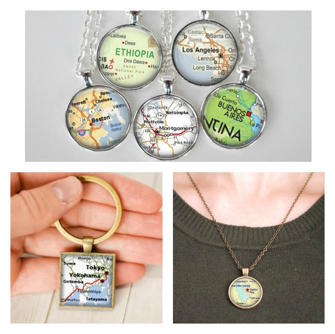 Missionary Map Necklace or Keychain