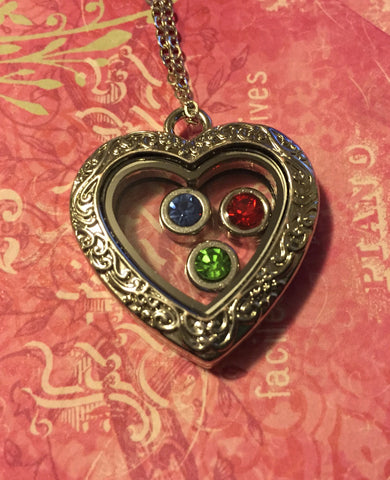 NEW!  Birthstone Heart Locket Necklace
