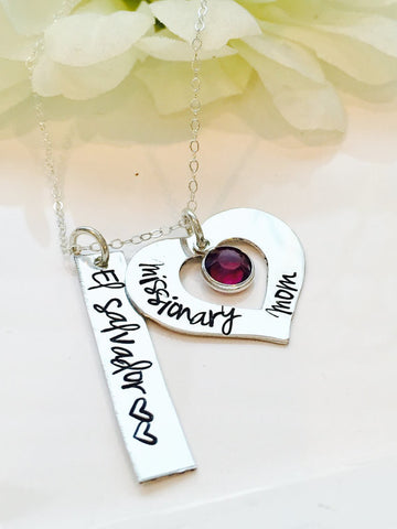 Personalized Missionary Mom Heart Necklace