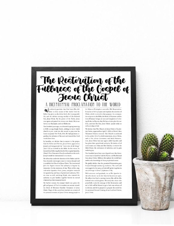 New Proclamation, The Restoration of the Fullness of the Gospel of Jesus Christ, Proclamation Printable