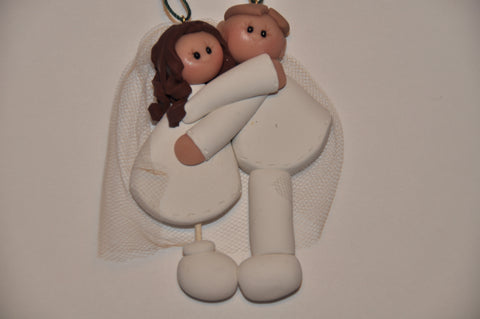 Wedding Couple Ornament - Custom - By Clay Creations