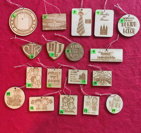 Wood Missionary Christmas Ornaments