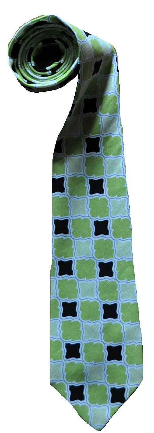 Green Pattern Ties - Handmade Men's Necktie