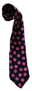 Black and Pink Poka Dot ties - Handmade Men's Necktie